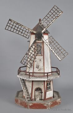 Painted model lighthouse windmill yard ornament, early 20th C