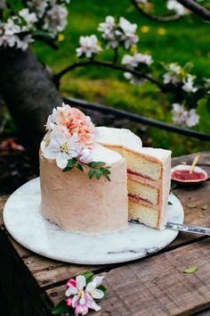 rhubarb almond layer cake — the farmer's daughter White Almond Cakes, Almond Wedding Cakes, Sweet Recipes, Cake Recipes, Biscuits, Rhubarb Cake, Cakes Today, Cake Trends, Savoury Cake