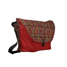 Cranberry old fashion beads commuter bag $86.95 is a overnight attaché, or travel bag! Vibrantly printed on rugged polyester and designed with a unique accessories system,  this bag combines beautiful form, function, and a small ecological footprint.  Water resistant, extra durable (machine-washable).  Large main compartment and 2 front pockets.  Lightweight and forms to your body.  Quick-adjust cam shoulder strap.  Velcro strips accessory system; Holds   laptop w/optional sleeve.