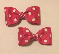 """Excited to share the latest addition to my #etsy shop: 3"""" Pink Polka Dot Hairbow Set #hair #polkadotbow #portababy"""