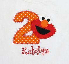 BIRTHDAY SHIRT - PERSONALIZED Shirt - Elmo - Sesame Street - Named Shirt - Number Shirt - Shirt - Tshirt - Infant - Toddler - Clothing