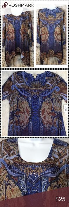 NEW Blue/Brown Print Hanky Hem Tunic Sz Large Beautiful tunic blouse by Live and Let Live. Royal blue and brown print. 3/4 bell sleeves. Sparkle deco down front. Size Large Brand New! ONE WORLD Tops Tunics