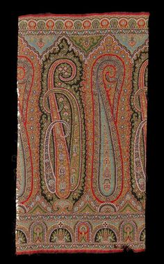 Sample of Paisley shawl pattern, cent. One of a collection of samples of Paisley shawl patterns, short length of a woven borde. Paisley Art, Paisley Design, Paisley Pattern, Shawl Patterns, Print Patterns, Art Deco Paintings, Boarder Designs, Kalamkari Painting, Textile Pattern Design
