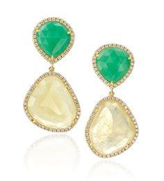 Chrysoprase and sapphire #earrings from Rina Limor @rinalimor