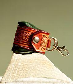 Keyring, keychain, keyfob, keyholder. Tiny irish bag. Opened. Engraved leather  key chain. Gft for her, for him.
