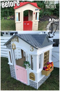 Little Tikes Playhouse makeover! Transforming a plastic outdoor playhouse! outdoor playhouse Little Tike Playhouse Makeover Kids Outdoor Play, Kids Play Area, Backyard For Kids, Diy For Kids, Kids Room, Play Areas, Play Spaces, Little Tikes Playhouse, Diy Playhouse