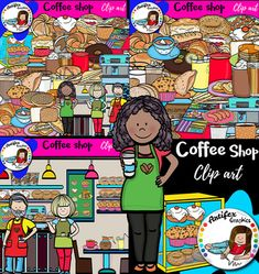 Coffee shop contains 83 image files, which includes 42 color images and 41 black & white images in png. includes: • Coffee shop background • Waiter • Waitress holding a serving tray • Barista holding a coffee cup • Bacon on plate • Bagel • Bakery display case • Biscuit • Cherry bun • Cherry danish • Coffee condiment organizer • Coffee créame • Coffee cup1 • Coffee cup2 • Corned beef sandwich • Croissant chicken salad sandwich • Croissant • Decaffeinated coffee • Donut • Egg salad sand...