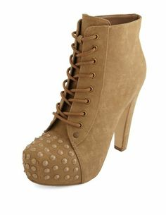 TONAL STUD LACE-UP BOOTIE: This edgy bootie features a nubuck upper with a lace-up front and tonal studs at the toe. Lightly cushioned insole rests on a hidden platform and thick heel $50.00