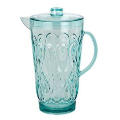 Large Swirly Embossed Acrylic Pitcher: Turquoise