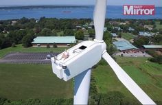 Drone spots man sunbathing on top of 200-foot wind turbine http://popme.ch/6015BHx0X