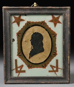 Framed Silhouette of a Gentleman in a Masonic Reverse-painted Glass Mat | Sale Number 2618B, Lot Number 4 | Skinner Auctioneers