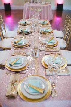 mint and gold wedding ideas   Mint, Gold & Blush NYE Wedding Table Décor via Pinterest