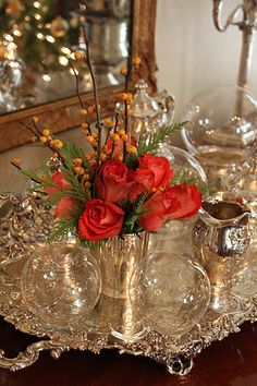 Beautiful silver and crystal vignette.