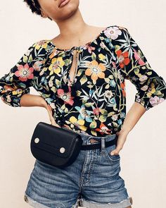2fbb248782540 Hands-free in Liberty florals. #jcrewalways Red Nails, Floral Tops, Liberty