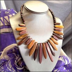 Costa Rican Tropical Hard Wood Necklace Vintage Jewelry $65