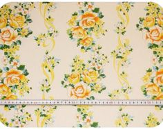 Floral retro vintage fabric with roses - yellow, orange, green and blue
