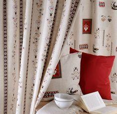 LANDLUST » Zurück zum Ursprung mit Landhausromantik in traditionellen Farben auf grober Leinenstruktur.  #5700Chic #landhaus #countrystyle #vorhang #gardine #store #SONNHAUS #raumausstattung