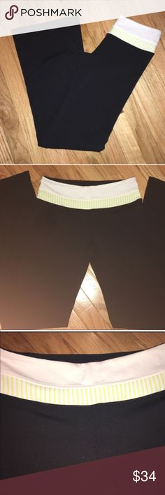 Lululemon Black Reversible Groove Pant Lululemon Black Reversible Groove Bootcut Yoga Pants. Size: 4. Reversible Pants for different colored waistband: one side is white & yellow striped the other side is all black. Worn only a few times. Approx Measurements Laying Flat: Waist Inseam: lululemon athletica Pants Track Pants & Joggers