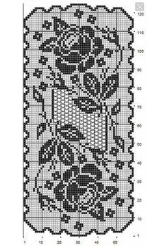 Pixel roos Crochet Tablecloth Pattern, Crochet Doilies, Crochet Patterns, Filet Crochet Charts, Crochet Diagram, Cross Stitch Designs, Cross Stitch Patterns, Fillet Crochet, Crochet Table Runner
