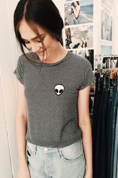 This is a grey top with an alien patch on it. I'm going to recreate it but adding a no face patch on it to make it more me.
