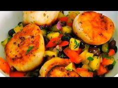 Video: Pan Seared Scallops With Mango Black Bean Salsa Recipe   Clean & Delicious with Dani Spies