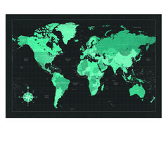 "24"" x 36"" Black & Turquoise World Map Poster"
