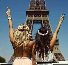 Paris parijs eiffeltoren girls friends vriendinnen peace love