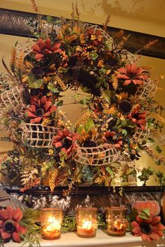 Are you thinking fall yet? I& not decorating just yet, but I am starting to plan for it. I wanted to share s. Thanksgiving Wreaths, Autumn Wreaths, Holiday Wreaths, Thanksgiving Decorations, Pumpkin Decorations, Autumn Decorating, Decorating Ideas, Decor Ideas, Fall Arrangements