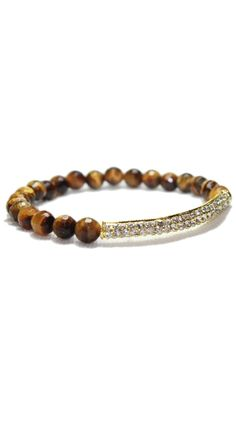 Tigers Eye Crystal Bar Bracelet---would like with tiger eye...smokey topaz crystals and two gold beads to separate