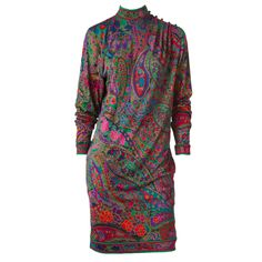 Leonard Silk Jersey Paisley Pattern Dress   From a collection of rare vintage day dresses at https://www.1stdibs.com/fashion/clothing/day-dresses/