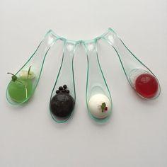 Serving option: spoons. (Conjures ice cream sampling.)  http://blogs.nature.com/aviewfromthebridge/2015/03/05/taste-that-hue-synaesthetic-eats/