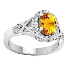 10k Gold 1 1/4ct TW Oval Citrine and Round Diamond Bridal Split Shank Ring