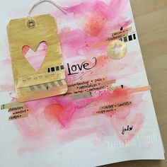 """""""My first #getmessyartjournal page simply titled """"Love"""" // by Jade #getmessyprompts #artjournal #collage #washi #love"""""""