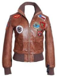 Ladies Italian Tan Leather Top Gun Bomber Jacket with tailored cut.