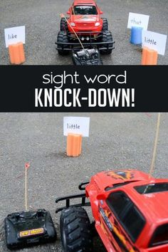 AWESOME IDEA but not sure if it would work, kids might get too excited. :) Find the sight word - knock it down!