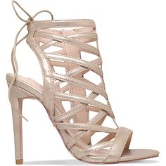 Carvela Gracie metallic faux suede caged sandals (160 RON) ❤ liked on Polyvore featuring shoes, sandals, zipper shoes, caged high heel sandals, heels stilettos, high heel stilettos and metallic shoes
