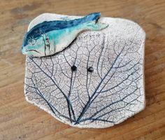 Seifenschale Keramik oval florales Muster mit Fisch Badezimmer Seife Seifenablage