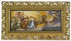 Lorenzo Cassio fl. 1874- after 1925 A MICROMOSAIC MURAL PLAQUE OF AURORA AND THE CHARIOT OF APOLLO, AFTER GUIDO RENI (1575-1642) Rome, circa 1880's, Vatican Mosaic Workshop