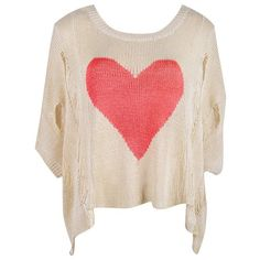 RED & BEIGE HEART PRINT OVERSIZE KNIT TOP - Ally Fashion ❤ liked on Polyvore