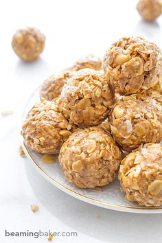 No Bake Peanut Butter Coconut Bites: delicious, easy to make, energy-boosting and super-filling. Made of just 6 simple ingredients, vegan, gluten free and healthy! BEAMINGBAKER.COM