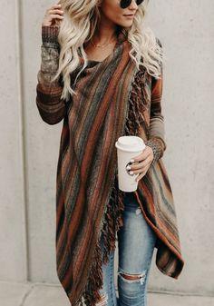 cfd1e6b055ab91 Braune Gestreifte Fransen Oversize Cardigan Strickjacke Warme Sweater Poncho  Mantel Damen Mode Verkauf zu günstigen Preisen