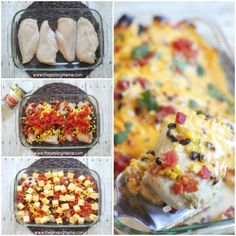 This Easy Oven Baked Chicken Tacos Recipe is PERFECT for a quick weeknight dinner! OVEN BAKED chicken tacos have lots of flavor and none of Italian Baked Chicken, Easy Baked Chicken, Baked Chicken Recipes, Chicken Meals, Chicken Queso Bake, Greek Chicken, Brownie Fondant, Brownies, Biscuits Graham