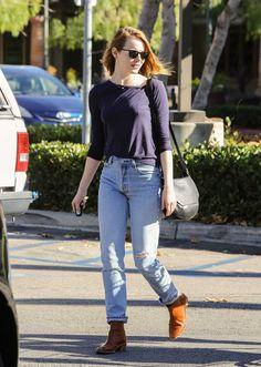 emma stone high waisted jeans