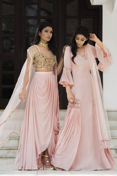 Trendy designs Of Baby Pink Colour With golden combination with it. To Make this outfit then whatsapp on Indian Designer Outfits, Designer Dresses, Draped Dress, Dress Up, Indian Gowns Dresses, Pink Dresses, Satin Dresses, Indian Wedding Outfits, Indian Outfits Modern
