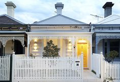 A charming modern house in Albert Park, Australia, has an exterior that pays homage to the Victorian cottage vernacular; designed by architect Matt Gibson. via remodelista Victorian Terrace House, Victorian Cottage, Victorian Homes, Modern Victorian, Edwardian House, Victorian Era, Australian Architecture, Australian Homes, Architecture Design