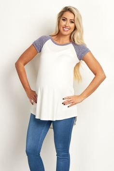 Dusty-Blue-Colorblock-Cuffed-Short-Sleeve-Top