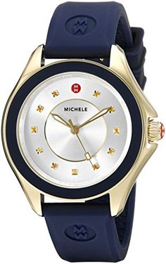 MICHELE Women's MWW27A000013 Cape Gold-Tone Stainless Steel Watch with Navy Blue Band -- Visit the image link more details.