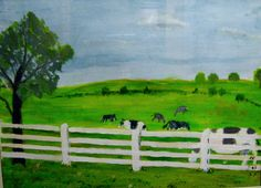 Out to Pasture- an acrylic on board by my 86 year old Dad- Russell Elvidge.