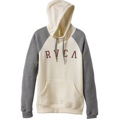RVCA Women's  Arc Pullover Hoodie ($55) ❤ liked on Polyvore featuring tops, hoodies, white, pullover sweatshirts, white hoodie, pullover hoodie sweatshirt, fleece pullover hoodie and white sweat shirt