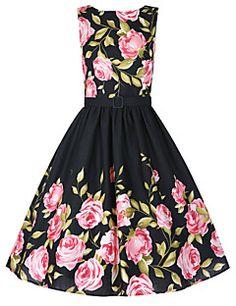 Mulheres Vestido Rodado Vintage Floral Altura dos Joelhos Decote Redondo Algodão